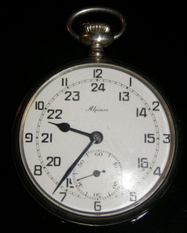 "Waffen SS/ Reloj de Bolsillo ""Alpina"" con Emblema y dedicatoria"